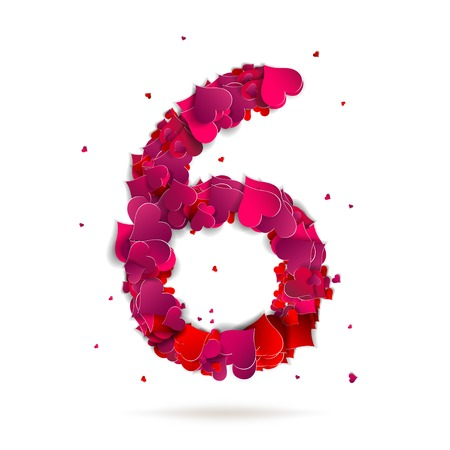 Number six, 6 made from red hearts Love alphabet Vector