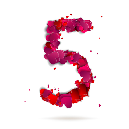 Number five, 4 made from red hearts Love alphabet Vector