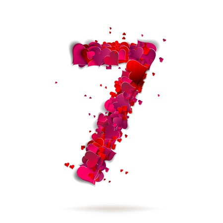 Number seven, 7 made from red hearts Love alphabet Vector