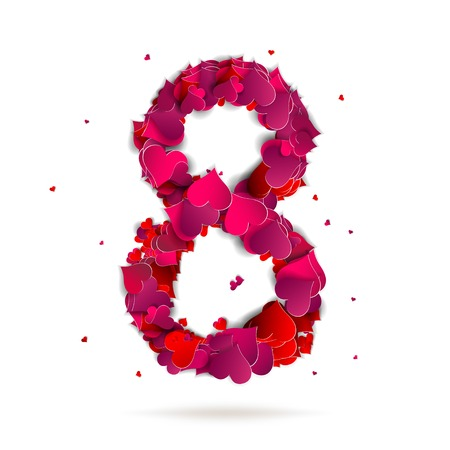 Number eight, 8 made from red hearts Love alphabet Vector