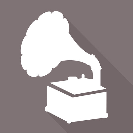 Gramophone,old retro  record player icon Vector