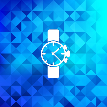 clock face:  clock icon. Triangle background. Illustration