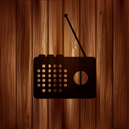 radio beams: Radio web icon. Wooden texture.