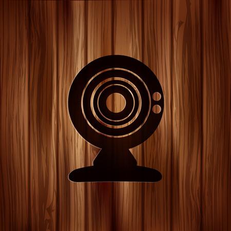 Web camera icon. Wooden texture. Vector