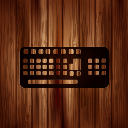 Computer keyboard web icon. Wooden texture. Vector