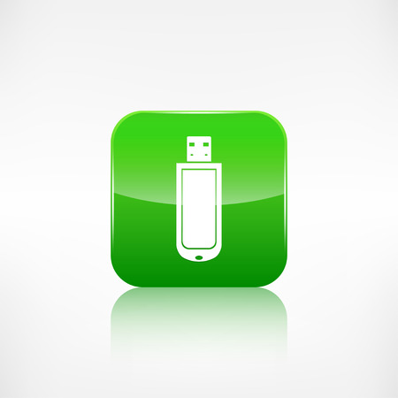 application button: Usb flash drive web icon. Application button. Illustration