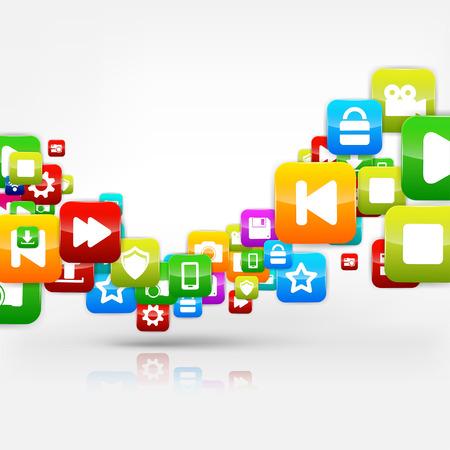 computer software: Application button.Social media.Cloud computing. Illustration