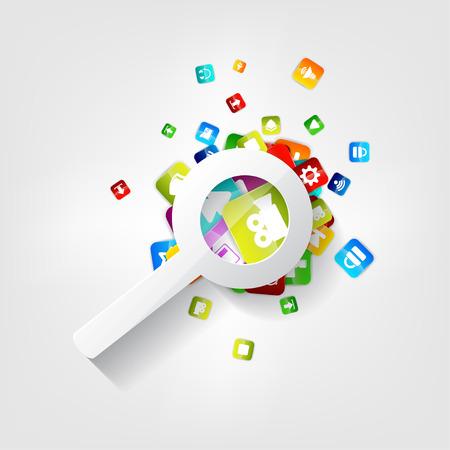 Search icon. Loupe symbol. Application button. Vector