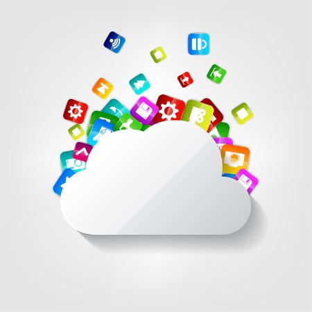 computer software: Cloud icon. Application button.