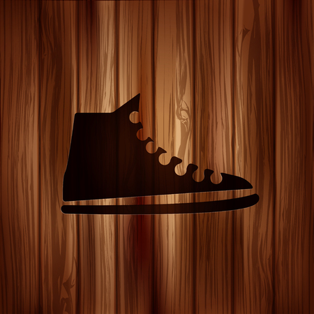 Casual keds, gym shoes icon.Wooden background Illustration