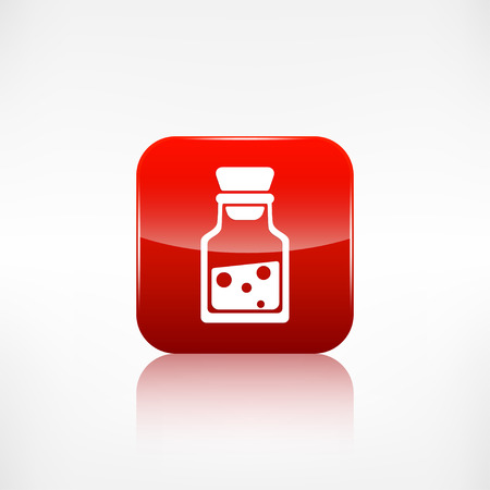 reagent: Laboratory medical flask.Application button.