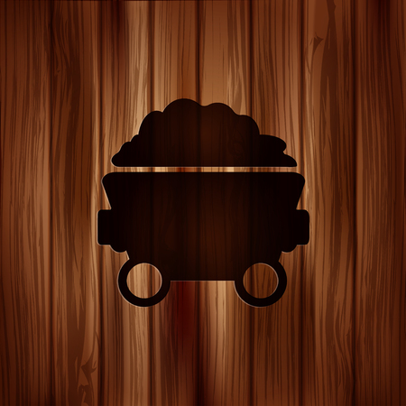 Mining coal cart icon.Wooden background Vector