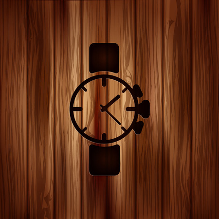 Watch,clock icon.Wooden background Vector