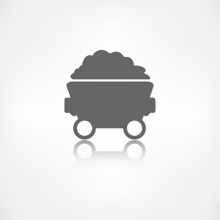 old mining building: Mining coal cart icon Illustration