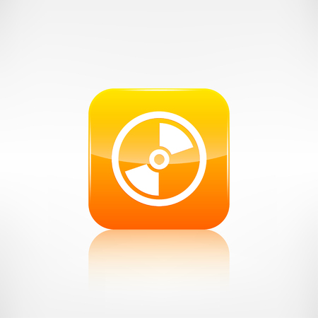 application button: Compact disk icon. Application button. Illustration