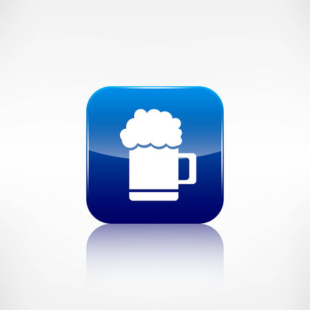 Glass of beer web icon. Application button. Vector