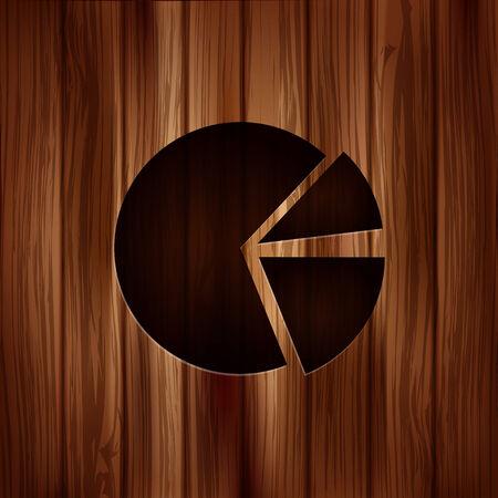 Circular diagram web icon. Wooden texture Vector