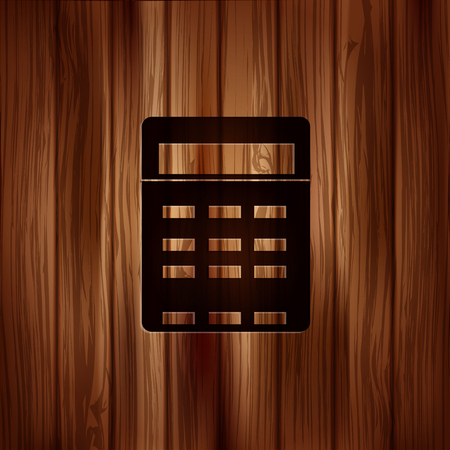 Calculator web icon. Wooden texture Vector