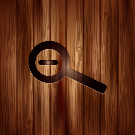 zoom out: Zoom out icon. Search loupe. Wooden texture.