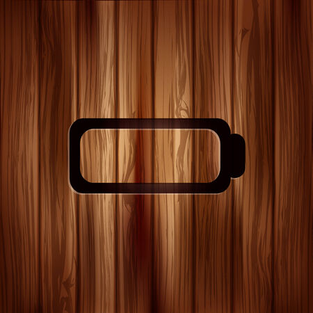 accumulator: Battery icon. Accumulator symbol. Wooden texture. Illustration