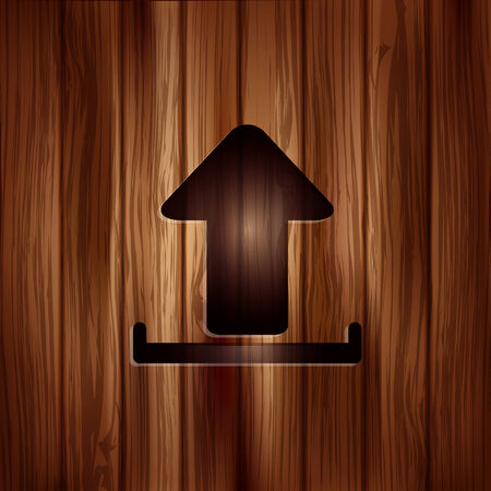 Upload icon. Send file. Wooden texture. Vector