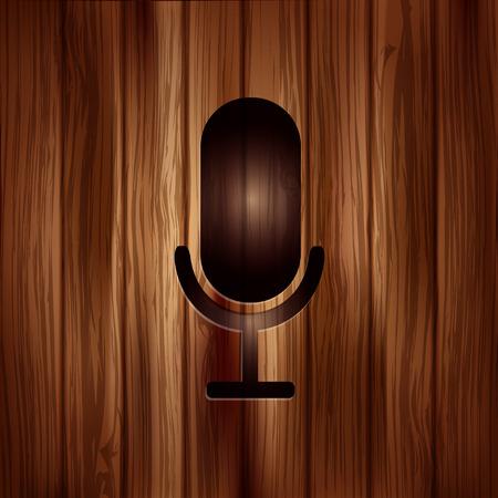 entertaining presentation: Microphone icon. Sound recording Illustration