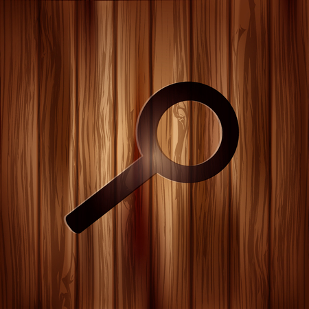 Search icon. Loupe symbol. Wooden background