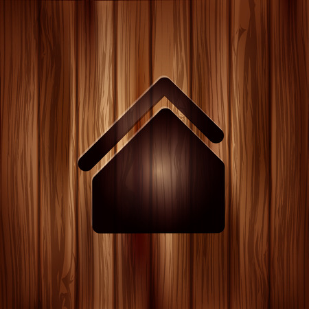 Home icon. House symbol. Wooden background Vector