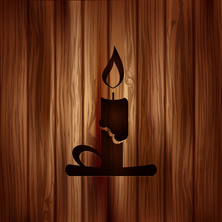lighted: Candle web icon. Wooden background.