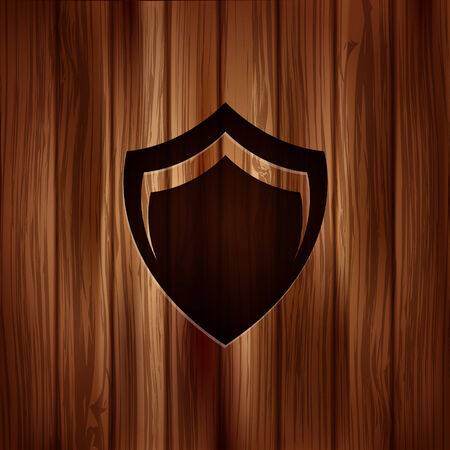 Shield protection icon. Wooden texture. Vector