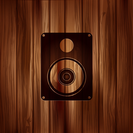 subwoofer: Icona web Subwoofer. Sfondo in legno. Vettoriali