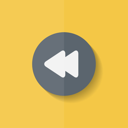 reverse: Reverse or rewind icon. Media player. Flat design. Illustration