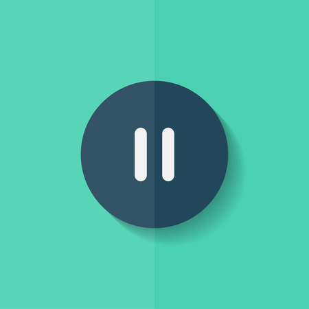 Pause icon.Meida player button. Flat design. Vector