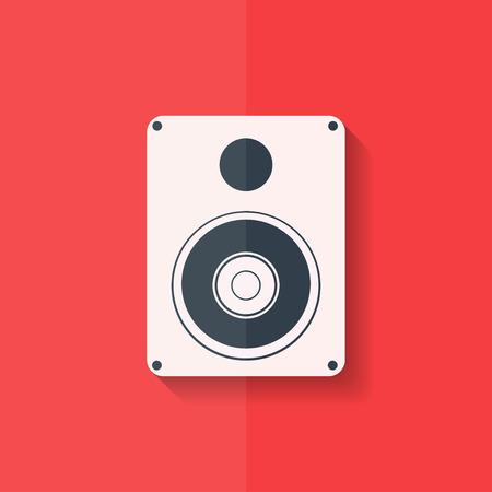 speaker box: Subwoofer web icon. Flat design. Illustration