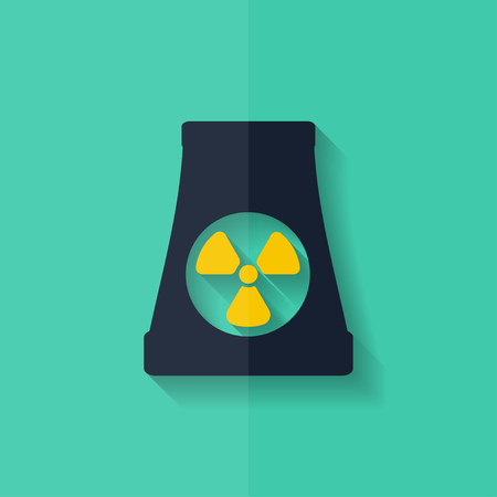 atomic power station icon. Flat design. Stock Vector - 27696225