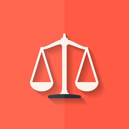 balanza en equilibrio: Escalas icono del balance. Diseño plano.