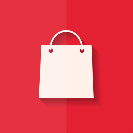 gift bag: Shopping basket icon. Flat design. Illustration