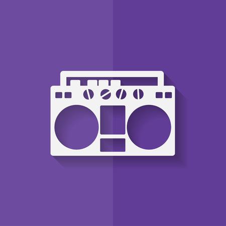 magnetofon: Retro magnetofon, stylu hipster. Płaska.