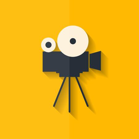 ビデオ カメラ アイコン。メディアのシンボルです。フラットなデザイン。  イラスト・ベクター素材