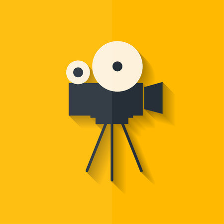 reel to reel: Video camera icon. Media symbol. Flat design.