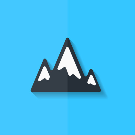 snow capped: Mountains web icon. Flat design. Illustration