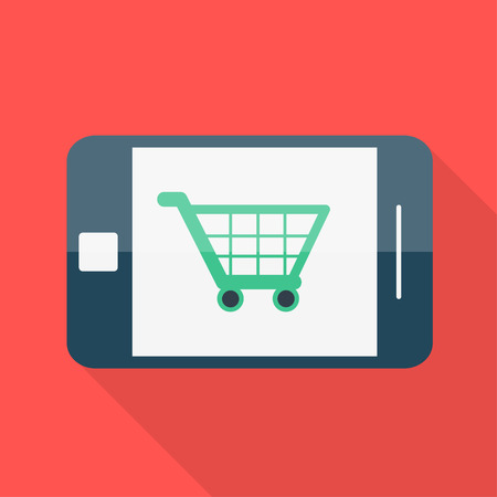 Smartphone. Flat design. Shopping basket icon. Vector