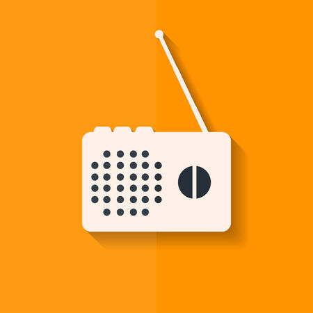 radio beams: Radio web icon. Flat design.