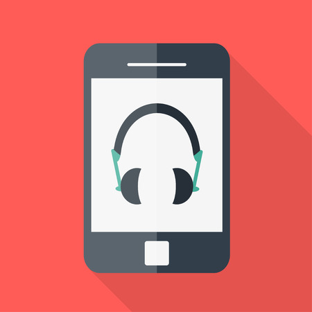 Smartphone. Flat design. Headphones icon Vector