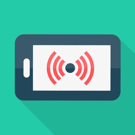 Smartphone. Flat design. Wireless icon. Vector