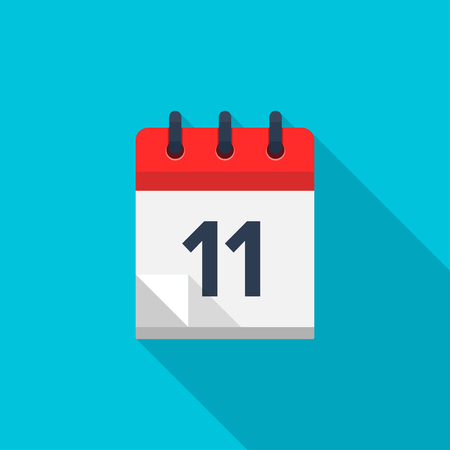number 11: Flat calendar icon. Date and time background. Number 11