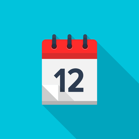 number 12: Flat calendar icon. Date and time background. Number 12 Illustration