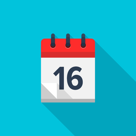 number 16: Flat calendar icon. Date and time background. Number 16