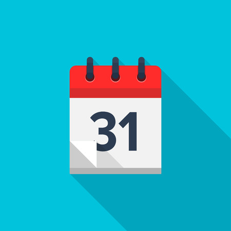 Flat calendar icon. Date and time background. Number 31 Illustration