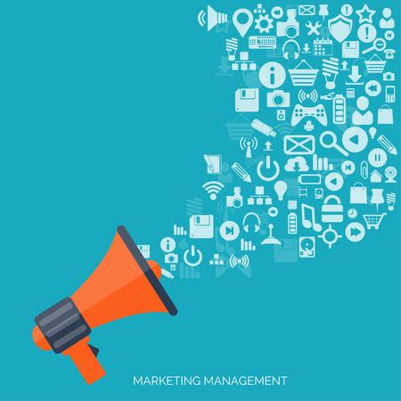Vlakke pictogram luidspreker. Administratief beheer concept. Wereldwijde communicatie en sociale media.